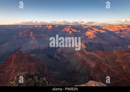 Sunset at Grand Canyon Mohave Point on a sunny evening in autumn - Stock Photo