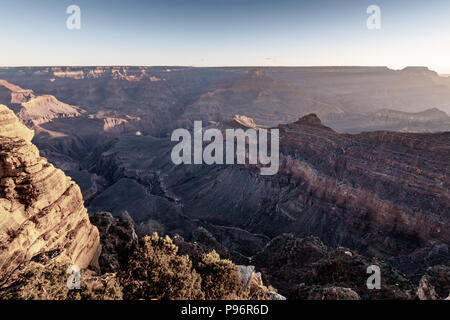 Sunrise at Grand Canyon Mather Point, Arizona on a sunny morning in fall - Stock Photo