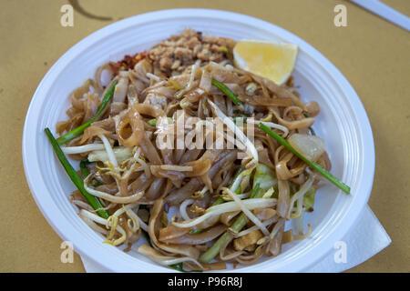 Pad thai noodles plate, thai food, Asian cousine. - Stock Photo
