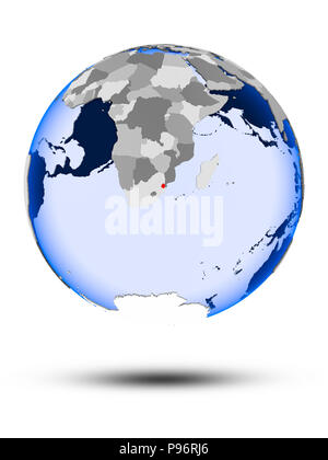 Swaziland on political globe with shadow and translucent oceans isolated on white background. 3D illustration. - Stock Photo