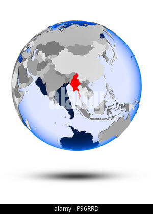 Myanmar on political globe with shadow and translucent oceans isolated on white background. 3D illustration. - Stock Photo