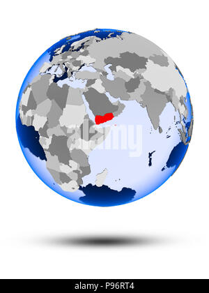 Yemen on political globe with shadow and translucent oceans isolated on white background. 3D illustration. - Stock Photo