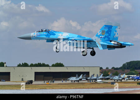A Ukrainian Sukhoi SU-27 Flanker landing at the Royal International Air Tattoo 2018 at RAF Fairford, UK - Stock Photo