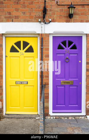 Colourful front doors. - Stock Photo
