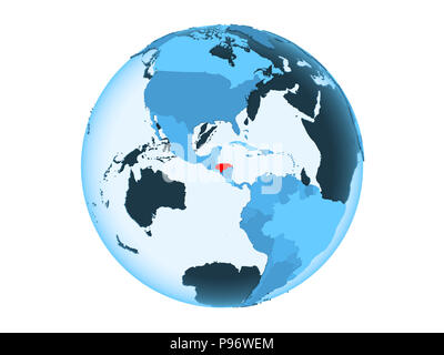 Honduras highlighted in red on blue political globe with transparent oceans. 3D illustration isolated on white background. - Stock Photo
