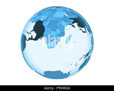 Swaziland highlighted in red on blue political globe with transparent oceans. 3D illustration isolated on white background. - Stock Photo