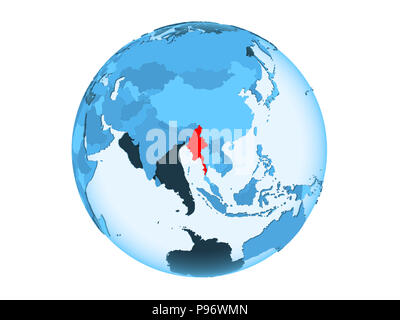 Myanmar highlighted in red on blue political globe with transparent oceans. 3D illustration isolated on white background. - Stock Photo
