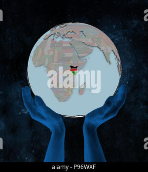 Kenya with flag on globe in hands in space. 3D illustration. - Stock Photo