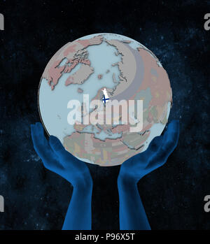 Finland with flag on globe in hands in space. 3D illustration. - Stock Photo