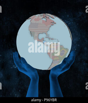 Honduras with flag on globe in hands in space. 3D illustration. - Stock Photo