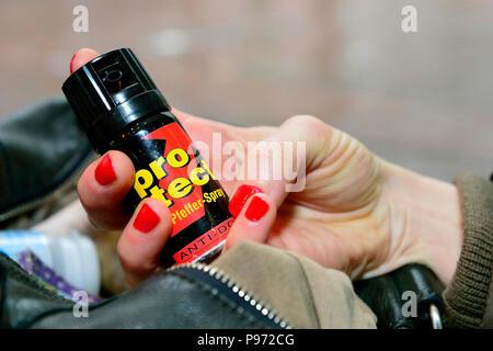Germany, North Rhine-Westphalia- Symbolfoto pepper spray - Stock Photo