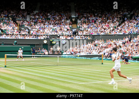 London, UK. 14th July, 2018. Novak Djokovic (SRB) Tennis : Novak Djokovic of Serbia during the Men's singles semi-final match of the Wimbledon Lawn Tennis Championships against Rafael Nadal of Spain at the All England Lawn Tennis and Croquet Club in London, England . Credit: AFLO/Alamy Live News - Stock Photo