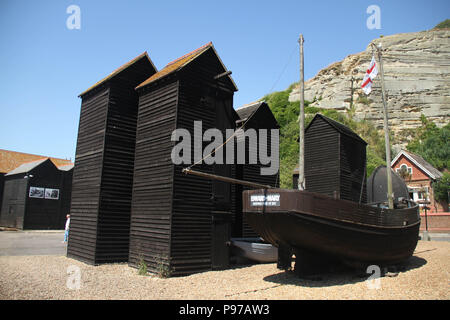 Hastings, UK -July 14 2018: The fishing boat seen at the Fishermen's Museum at the seaside town of the fishing port of Hastings on a hot summers day as the temperatures sore to above 27 degrees on 14 July 2018.  Hastings on the south coast of England is 53 miles south-east of London and is 8 miles from where the  Battle of Hastings took place in October 1066. Credit: David Mbiyu Credit: david mbiyu/Alamy Live News - Stock Photo