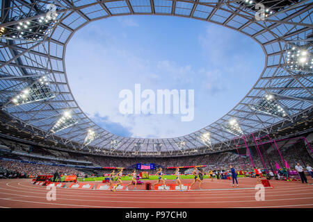 London, UK. 14th July 2018. A general view of the London Stadium during the women's 1500m at the Athletics World Cup at the London Stadium, London, Great Britiain, on 14 July 2018. Credit: Andrew Peat/Alamy Live News - Stock Photo