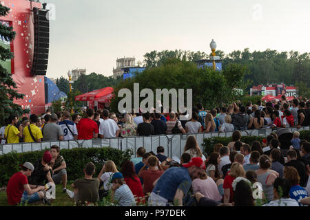 Moscow, Russia. 15th July, 2018. FIFA World Cup France-Croatia final. Fan festival area on Sparrow Hills by the Moscow State University. Area's capacity of 25000 people was exceeded manifold. There is barely room to move. Thunderstorm weather. Credit: Alex's Pictures/Alamy Live News - Stock Photo