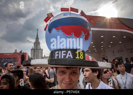 Moscow, Russia. 15th, July, 2018. Fans during the World Cup FIFA 2018 final soccer match between France and Croatia, at the fan zone, in Moscow, Russia - Stock Photo
