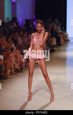 Miami Beach, Florida, USA. 14th July, 2018. A model walks the runway at Miami Swim Week powered by Art Hearts Fashion Swim/Resort 2018/19 at Faena Forum Credit: Wonwoo Lee/ZUMA Wire/Alamy Live News - Stock Photo