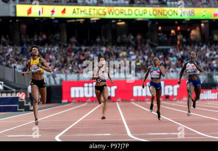 Olympic Stadium, London, UK. 14th July 2018. The Athletics World Cup 2018. Stephanie Ann McPherson (left) (JAM) takes gold in the Womens 400m at the inaugural Athletics World Cup. Eight Nations, eight athletes and eight points available per event, the highest scoring Nation rewarded with a Platinum Trophy Credit: Andy Gutteridge/Alamy Live News - Stock Photo