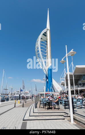 Emirates Spinnaker Tower at Gunwharf Quays, Portsmouth, Hampshire, England, UK. Emirates Tower portrait in Portsmouth. - Stock Photo