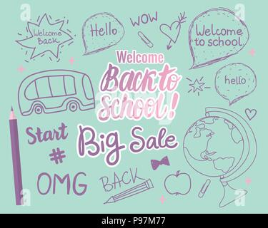 Welcome Back To School card. Vector children's hand drawn illustration in modern colors.