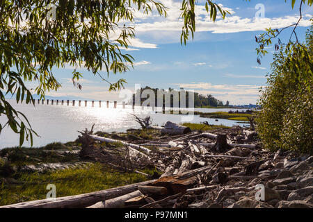 Late evening on the navigable channel of the South Arm of the Fraser River at Steveston, British Columbia, Canada - Stock Photo
