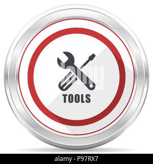 Tools silver metallic chrome border round web icon on white background - Stock Photo