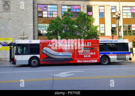Chicago, Illinois, USA. Sign of the times and recent trends, a CTA bus, painted to include a large advertising segment,. - Stock Photo