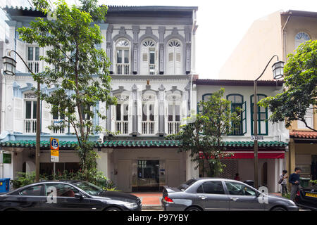 Shophouses are wonderful alternatives to high-rise office towers as they have historic value and tend to attract businesses in the creative industries - Stock Photo