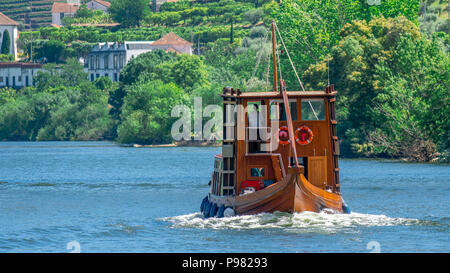 Rabelo boat on Douro River - Stock Photo