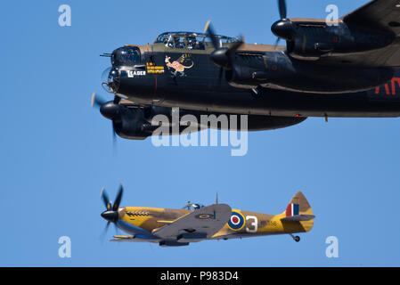 Royal Air Force RAF Battle of Britain Memorial Flight Lancaster and Spitfire at Royal International Air Tattoo, RIAT 2018, RAF Fairford. - Stock Photo
