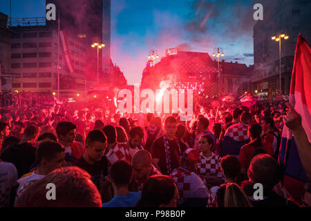 Zagreb, Croatia, Sunday, July 15, 2018, Croatians celebrate second place, silver medal, from the Soccer World Cup 2018, Russia Credit: Nino Marcutti/Alamy Live News - Stock Photo
