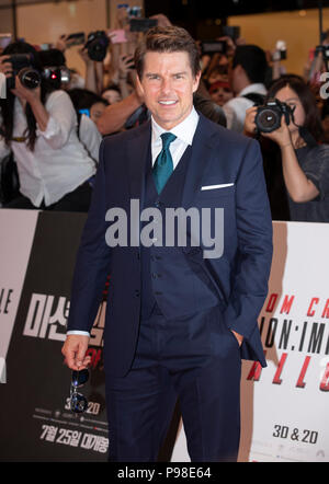 Seoul, South Korea. 16th July, 2018. Tom Cruise attends the premiere ceremony of the film 'Mission: Impossible - Fallout' in Seoul, South Korea, on July 16, 2018. Credit: Lee Sang-ho/Xinhua/Alamy Live News - Stock Photo