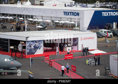 Farnborough, Hampshire, UK. 16 July, 2018. The biennial Farnborough International Trade Airshow FIA2018 opens to buyers and sellers of aerospace and defence industries from 16-20 July, with the public weekend show from 21-22 July. Credit: Malcolm Park/Alamy Live News. - Stock Photo