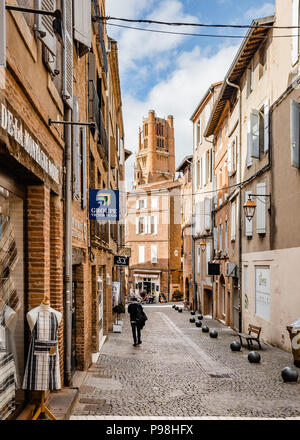 Rue du Plancat in the Old Town of Albi on a sunny Autumn afternoon - Stock Photo