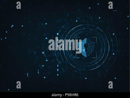 Internet technology cyber security data concept of protect computer virus attack  with  shield  Keyhole icon on Blue abstract background. - Stock Photo