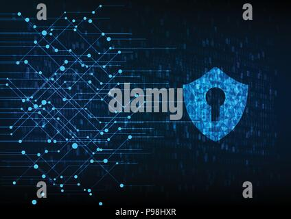 Cyber security concept: Padlock With Keyhole icon on digital data background. Illustrates cyber data security or information privacy idea. Blue abstra - Stock Photo