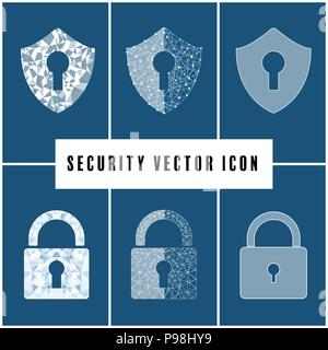 Abstract security vector icon with shield and padlock  on blue background. - Stock Photo