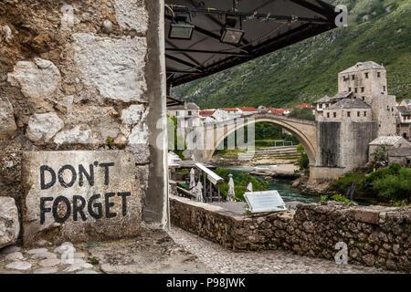 Bridge over the Neretva river Mostar Stari Most Bosnia & Herzegovina - Stock Photo