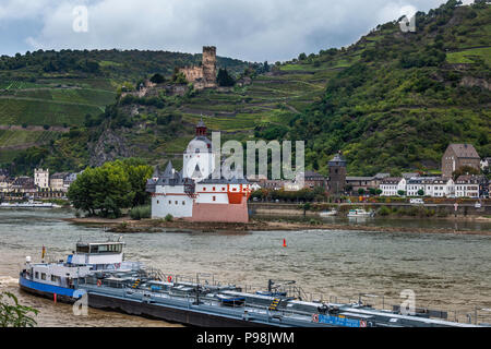 Pfalzgrafenstein Castle a toll castle on the Rhine - Stock Photo