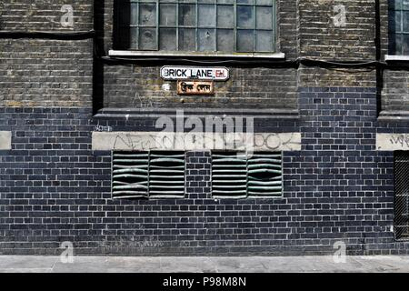 Brick Lane in London's East End - Stock Photo