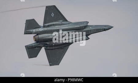 United States Air Force Lockheed Martin F-35A fighter displaying at the Royal International Air Tattoo, RAF Fairford, UK on the 13th July 2018. - Stock Photo