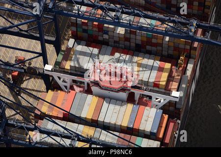 Aerial photograph showing close up view of containers on a ship - Stock Photo