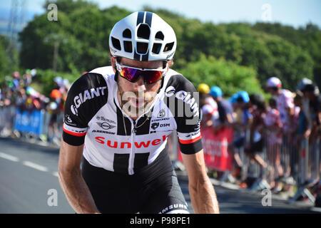 Tour de France 2018. Stage 6. Brest to Mur-de-Bretagne. Inside the last kilometre of the 181km course which has an average gradient of 6.9%. - Stock Photo