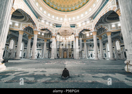 Hazrat Sultan Mosque inside prayer room Astana Kazakhstan - Stock Photo