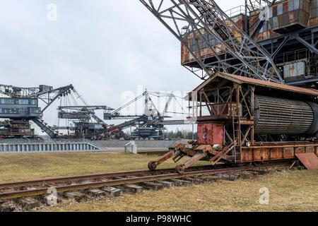 Gigantic excavator in the disused lignite opencast Ferropolis, Stadt aus Eisen, Sachsen-Anhalt, East Germany - Stock Photo