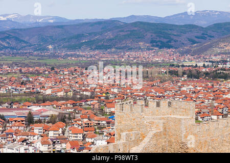 Ohrid, Republic of Macedonia : Samuel's Fortress and overview of the Unesco listed old town of Ohrid. Built on the site of an earlier 4th century BC f - Stock Photo