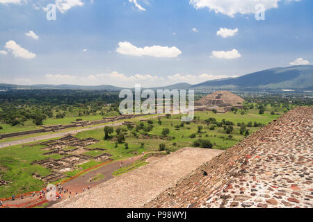 Teotihuacan, Mexico : Pyramid of the Moon and Avenue of the Dead as seen from the Pyramid of The Sun at the Pre-Columbian Unesco World Heritage site o - Stock Photo