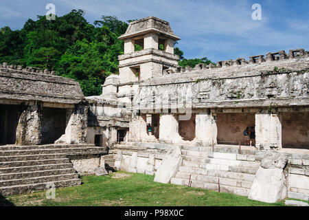 Palenque, Chiapas, Mexico : Observation Tower and courtyard of The Palace at the Mayan archeological site of Palenque. - Stock Photo