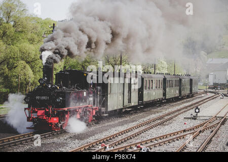 Steam Train in Station - Stock Photo