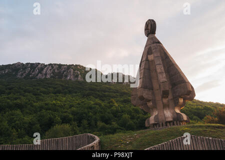 The Yugoslav-era Monument to the Fallen Soldiers on Sutjeska, in Župa Nikšićka, Montenegro. Built in 1984 - Stock Photo